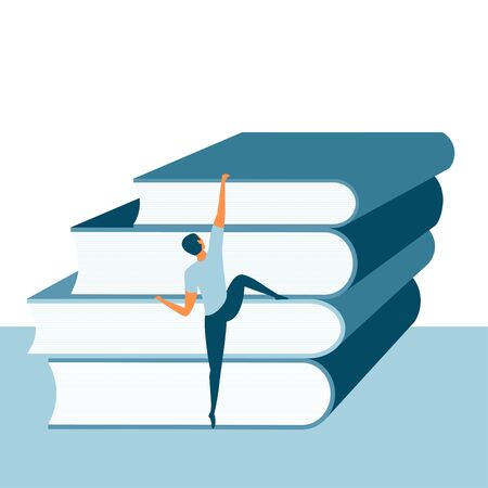 Person climbing books. Education level, reading challenge or skill development concept. Great for a poster or banner. Student or reader climbing a pile of books. Vector illustration. Ilustração