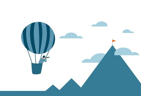 Career or business vision concept with a man flying in a hot air ballon and searching for new goals, perspective and opportunities. Vector illustration.
