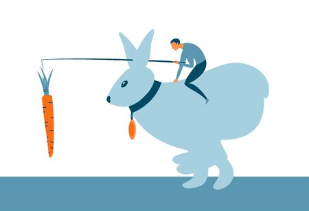 Motivation incentive business concept. Man sitting on a bunny and holding a carrot in front of animal. Vector illustration Ilustração