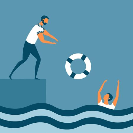 Help by drowning with a lifebuoy. One man is saving other sinking person. Business concept for insurance and financial crisis for corporate sector, teamwork or startup. Vector illustration. Ilustração