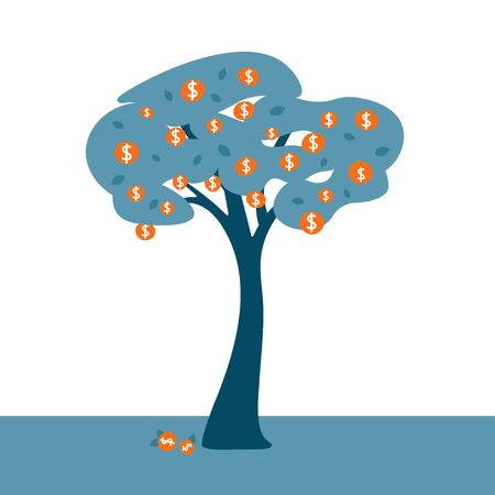 Money tree concept with golden coins as fruits. Business finance concept for bank, investment, finacial fond or trust. Vector illustration.