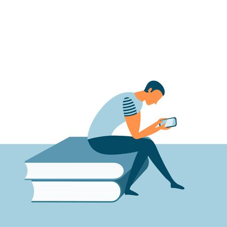 Person with smartphone sitting on the pile of books. Online reading or digital library concept. Education or skill development. Vector illustration. Ilustração