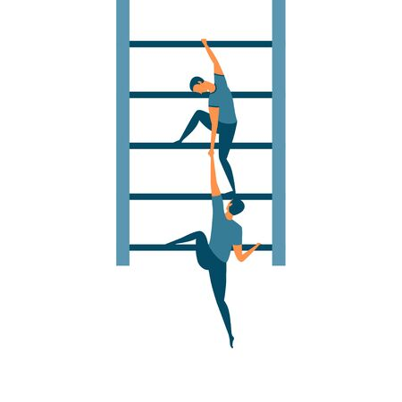 People moving up the corporate ladder. Helping each other on the career ladder. Business concept for being a teacher, leader or supervisor. Great for help, support and teamwork.