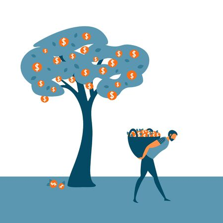 Investor collecting his dividends or bank deposit. Business concept for investment return, financial growth, economic success and investment. Vector illustration. Ilustração
