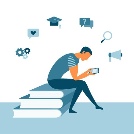 Online reading with a man sitting on books and using a smartphone. Mobile app concept for learning or reading. Education concept. Vector student design