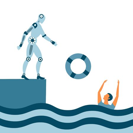 Help by drowning with a lifebuoy. Methaphor for insuarance and financial crisis. Business concept with two people for corporate sector, teamwork or startup. Vector
