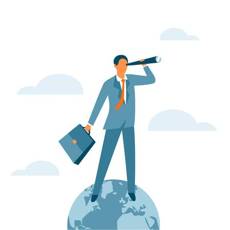 Businessman standing on the top of the world and looking for new opportunities. Success, global leadership or the winner business concept. Global market control. Vector illustration. Ilustração