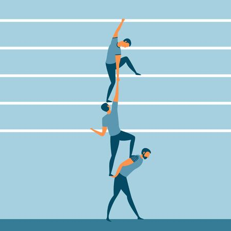 Support, friendship and teamwork concept. Three people helping each other or career or life ladder. Vector illustration.