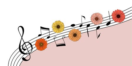 Music and flowers invitation background. Creative template with a clef, hand drawn music notes and flowers. Great to place text for an open air concert in a garden or park. Vector