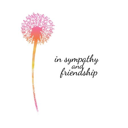 Sympathy card with a single flower. Dandelion silhouette drawing with gradient fill. Minimal poster. Botanical illustration. Vector Vettoriali