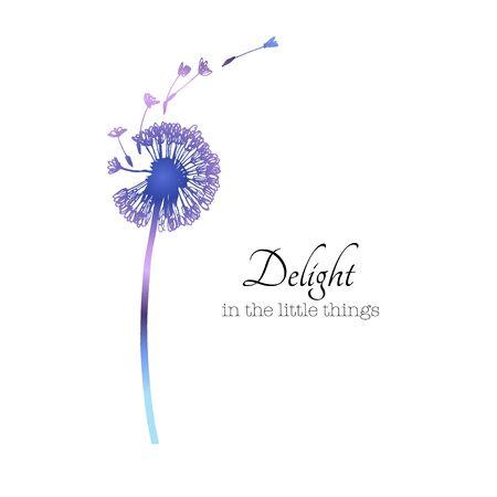 Dandelion blowing with flying seeds. Floral spring card. Minimal simple design. Vector botanical illustration. Ilustración de vector