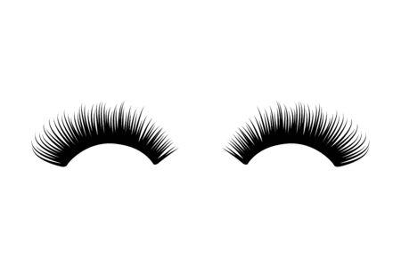 Cils longs et épais. Illustration d'extension de mascara. Faux cils