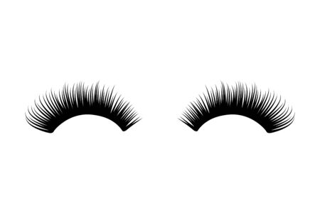 Eyelash long and thick. Mascara extension illustration. False lash