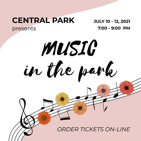 Invitation template. Open air summer concert banner with hand drawn music notes and daisy flowers.
