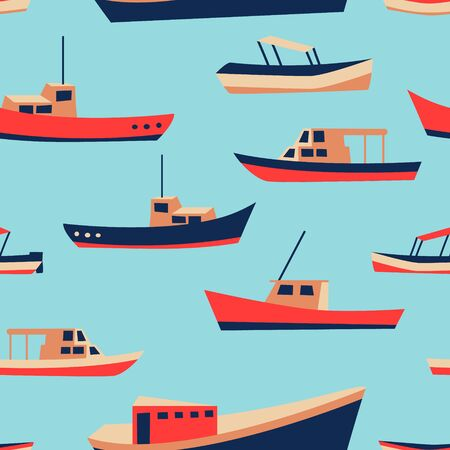 Kid pattern with cute boats. Nautical seamless background. Funny ship drawing. Fishing or sailing design. Vector