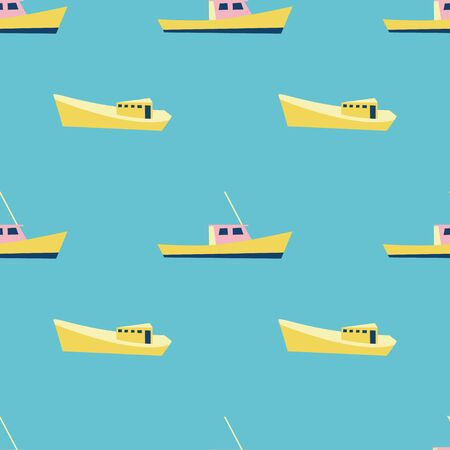 Boat pattern for summer vacation vibes. Nautical seamless background. Sailboat design. Vector  イラスト・ベクター素材