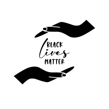 Black lives matters quote with an icon of protecting or supporting hands. Vector illustration. Çizim