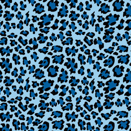 Blue leopard print background. Animal seamless pattern with hand drawn leopard spots. Blue wallpaper. Vector Illustration