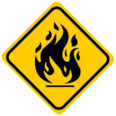 flammable: fire warning sign