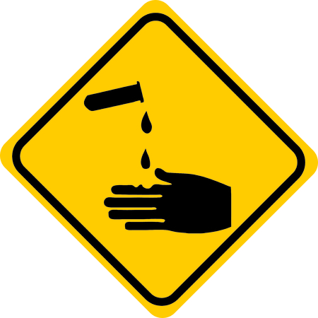 caution chemistry: Corrosive substances Acids Symbol Illustration