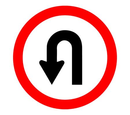 u turn sign Illustration