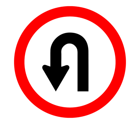 u turn sign Vectores