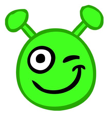 alien smile emogi