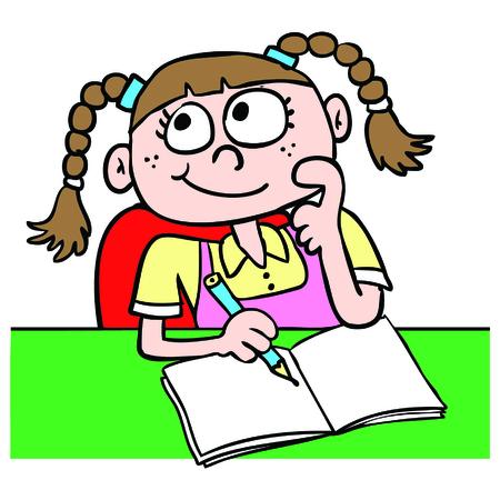 contemplate: Girl doing homework