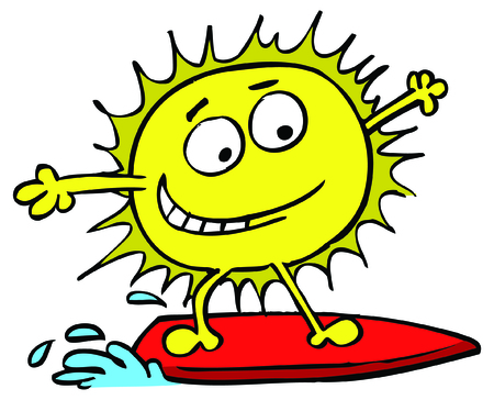 Vector illustration of sun surfing