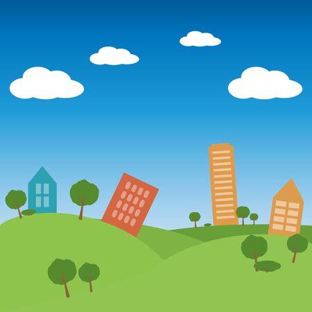 City landscape flat design