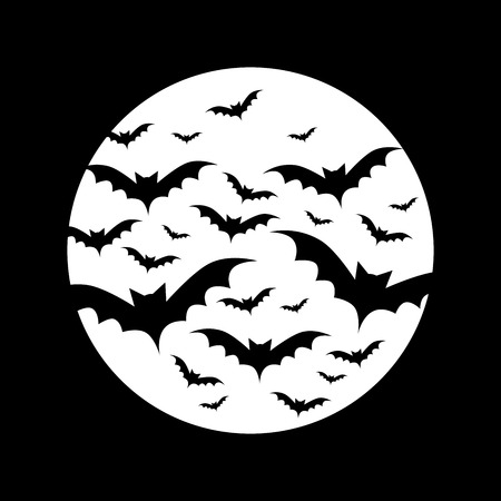 Bats in full moon Иллюстрация