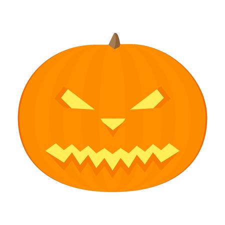 Happy Halloween pumpkin. In flat design.