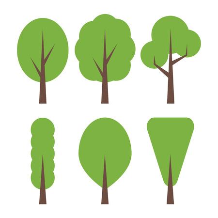 deciduous woodland: Trees set in flat design