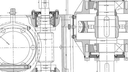 disegno Ingegneria Meccanica. Ingegneria disegno sfondo. Illustrazione vettoriale.
