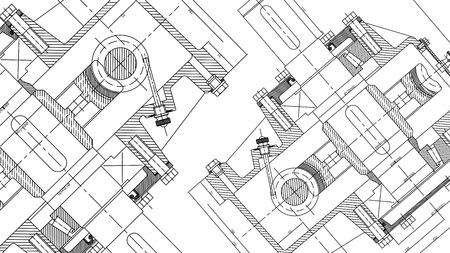 Disegno di ingegneria meccanica. Sfondo di disegno tecnico. Illustrazione vettoriale