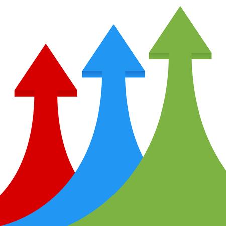 Las flechas crecimiento del negocio. Ilustración vectorial infografía