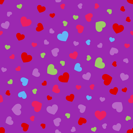 facing: Seamless geometric pattern with hearts.Vector illustration. Illustration