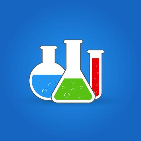 ?hemistry icon set. Vector illustration of icon beaker.
