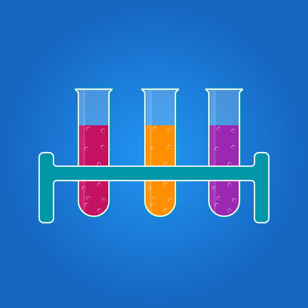 a substance vial: ?hemistry icon. Liquid in laboratory test tubes. Vector illustration.