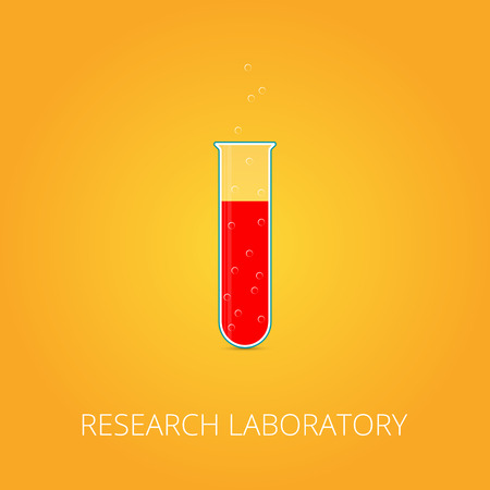?hemistry icon. Liquid in laboratory test tubes. Vector illustration.