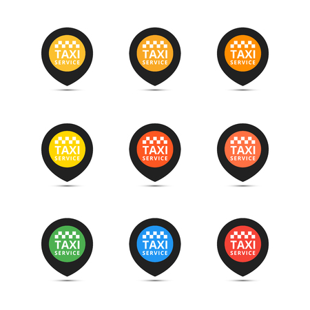 Taxi set icons. Vector coloful illustrations.