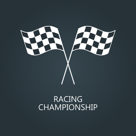 two crossed checkered flags: Checkered flags icon. Crossed black and white checkered flags Championship vector illustration. Illustration