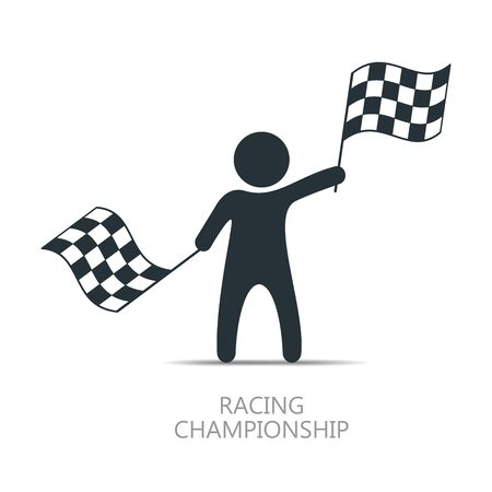 f1: Man with checkered flag icon. Man holding flag. Vector isolated illustration.