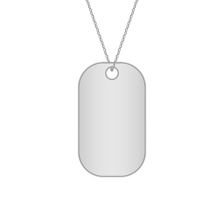 blank metallic identification plate: Blank metal tags hanging on a chain. Military dog tag. Isolated on white background. Vector illustration.