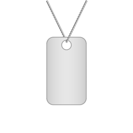 Blank metal tags hanging on a chain. Military dog tag. Isolated on white background. Vector illustration.