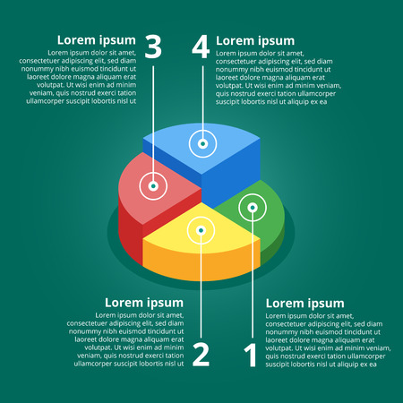 Pie chart on isolated background. Isometric pie charts different heights. Business data, colorful elements for infographics. Vector illustration. Çizim
