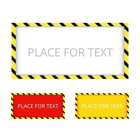 Border yellow and black color. Construction warning border. Vector illustration. Çizim