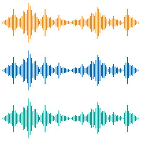 Vektor Schallwellen. Musik Digital Equalizer. Audiotechnik, musikalischer Puls.
