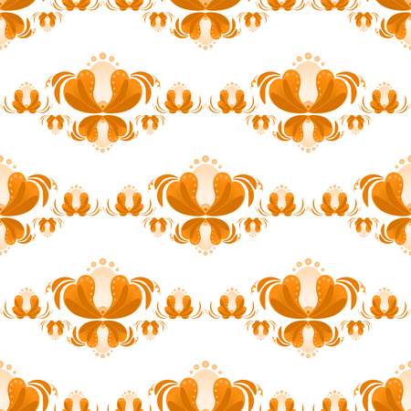 A Seamless pattern with flowers. Russian gzhel style.  Folk vector