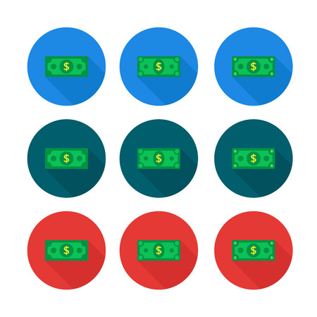 Cash Icon set in flat style. Dollar banknote green. Vector illus
